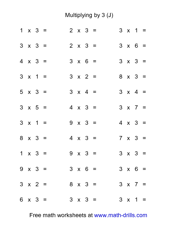 superbe Multiplication Worksheet -- 36 Horizontal Multiplication Facts Questions --  3 by 0-9 (J)