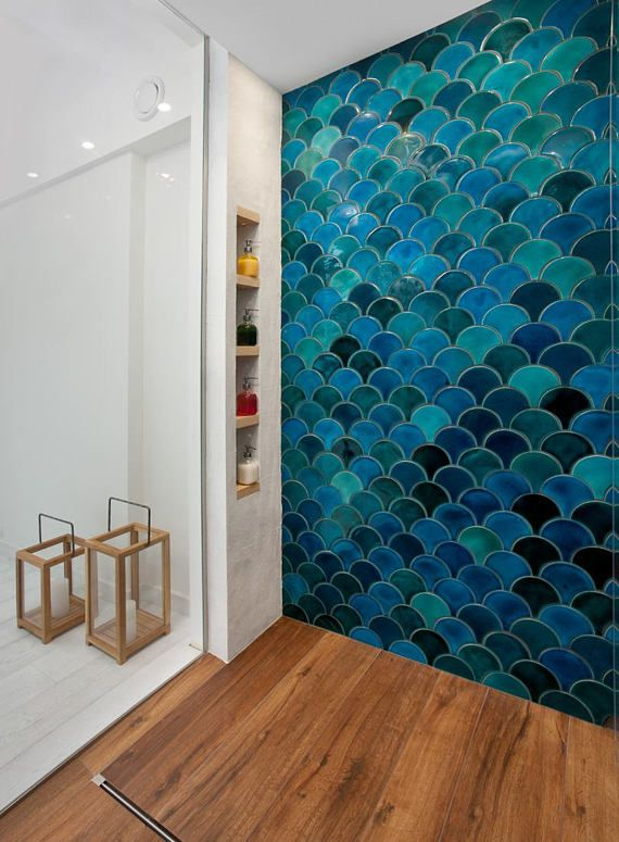 Morocco Fish Scale Ceramic Tile Mix Dark Turquoise Crackle And Emerald Green Bathroom Tile Handmade Blue Kitchen Tile Price Per 9 Pieces Green Tile Bathroom Fish Scale Tile Bathroom Blue Kitchen Tiles