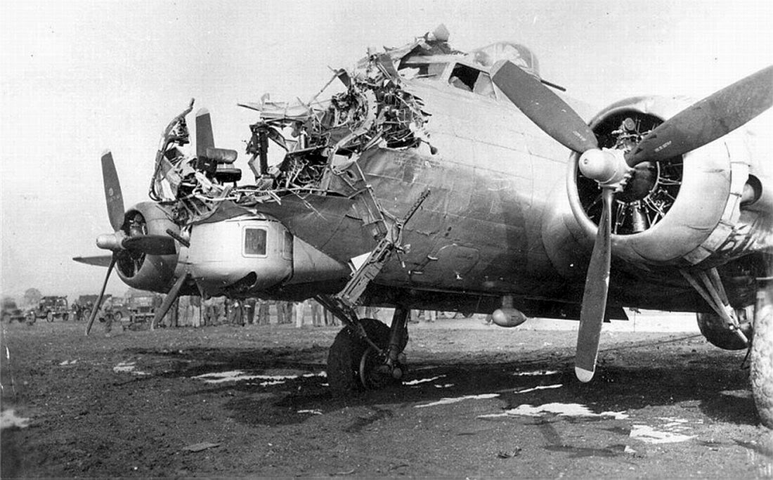 Flak took nose off this B-17 over Cologne, killing a crewman but pilot nursed it back to England