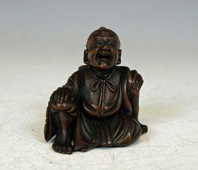 Japonesa Netsuke de madera del hombre que ríe