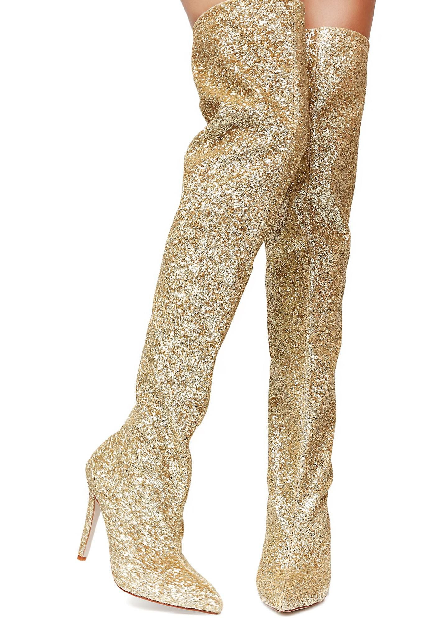 64355103d0 ... Glitter Thigh-High Boots cuz you luv to sparkle N' shine. Grab their  attention with these sparkly gold boots that have stiletto heels and pointed  toes.