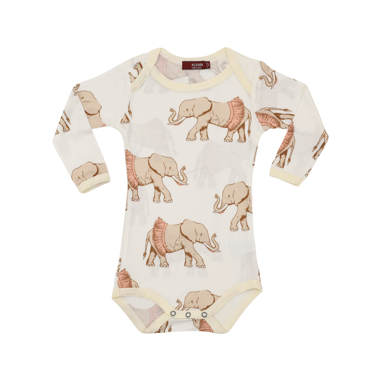 3e72cf178 MilkBarn Baby Bamboo Long Sleeve One Piece - Tutu Elephant ...