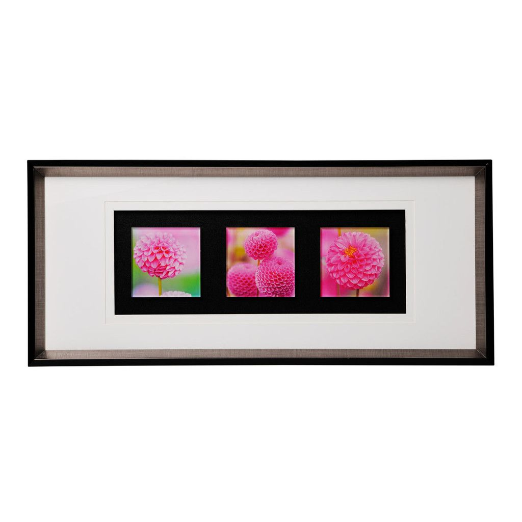 Triple Wall Art, Floral Colour Glass, Framed | LIVING ACCESSORIES ...