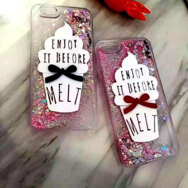 ice cream Quicksand Phone  Case For Iphone 6 6s 6plus 6splus liquid CASE