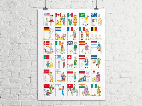 Poster Kinderzimmer, Bilder, Flaggen, Schulanfang, Jungen