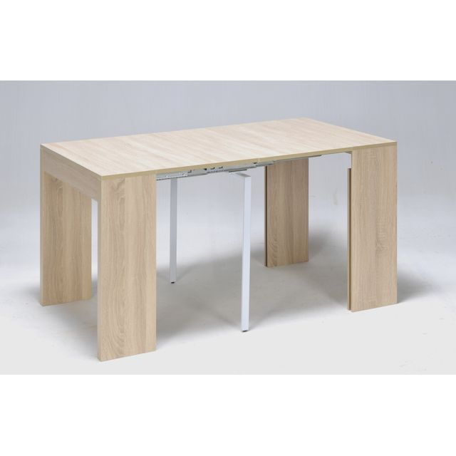 Table Console Extensible 2 A 8 Couverts Bois Chene Blanchi