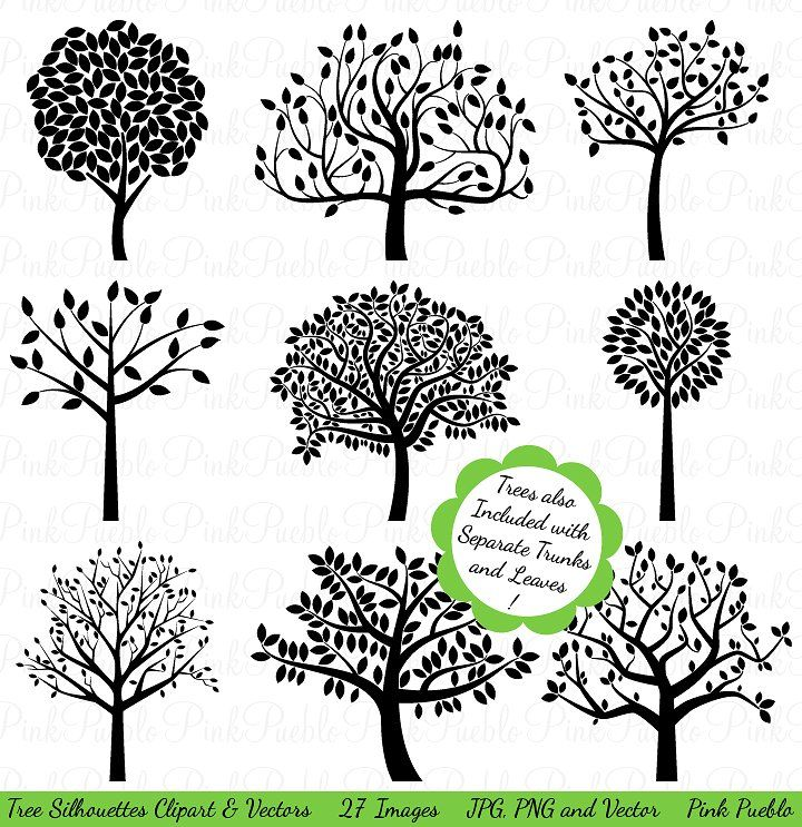 Tree Silhouettes Clipart  Vectors Tree silhouette, Silhouette and