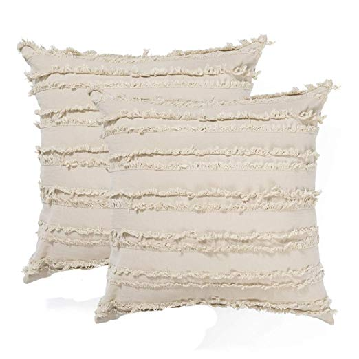 Amazon Com Decorative Throw Pillow Covers For Couch Sofa Bed Soft Cotton Linen Cushion Covers With Decor Fr In 2020 Pillows Crochet Pillow Cover Crochet Pillow Cases