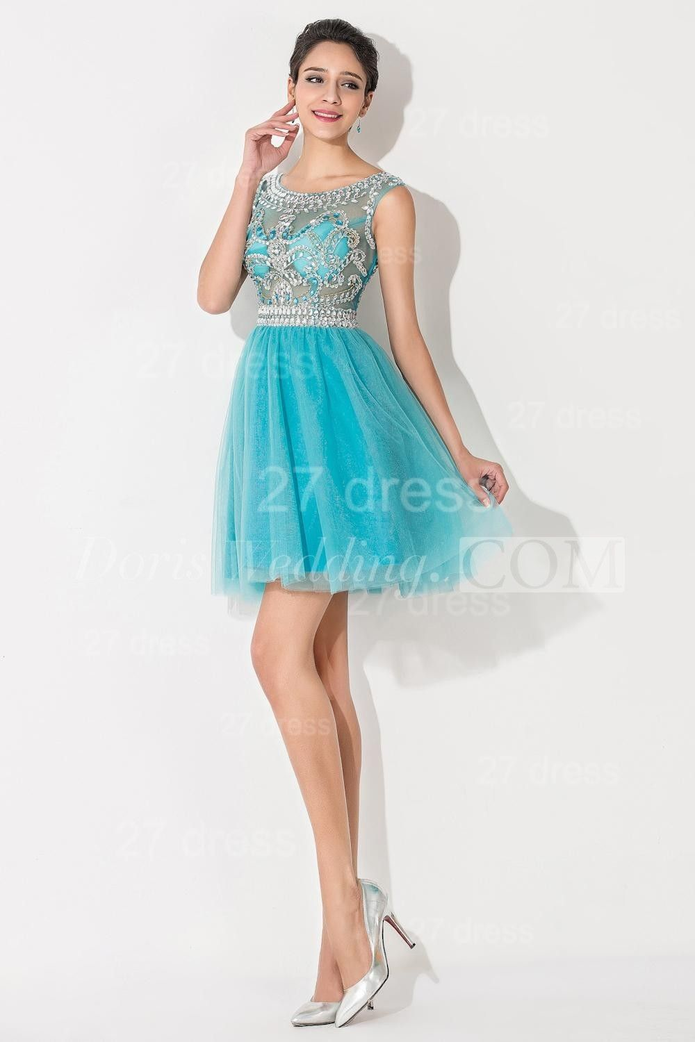 Modern Illusion Cap Sleeve Tulle Homecoming Dress With Crystals ...