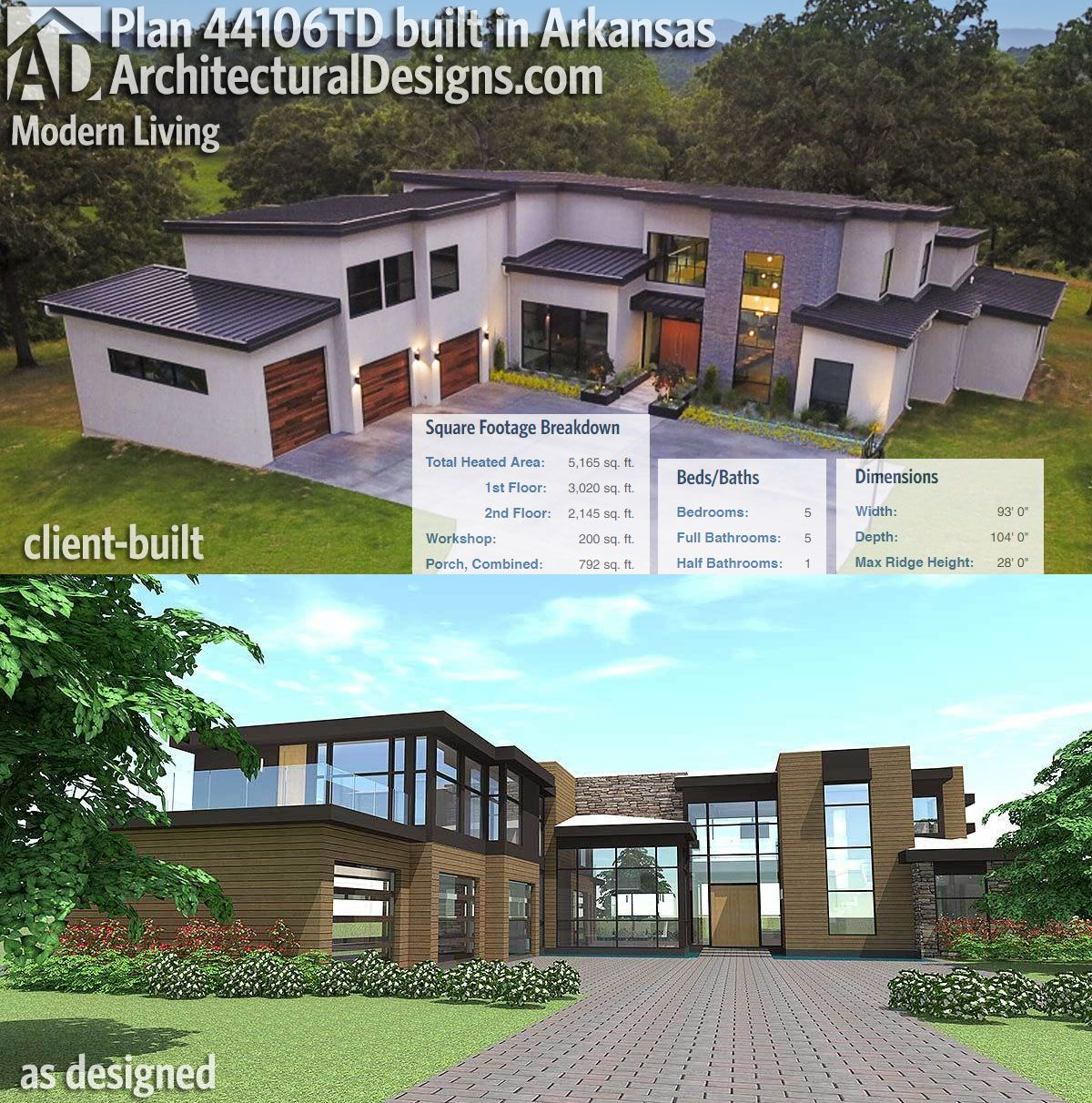 Plan 44106td modern living maisons for 5000 sq ft home