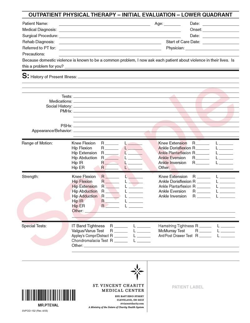 Physical Therapy Evaluation Form Evaluation Form Physical