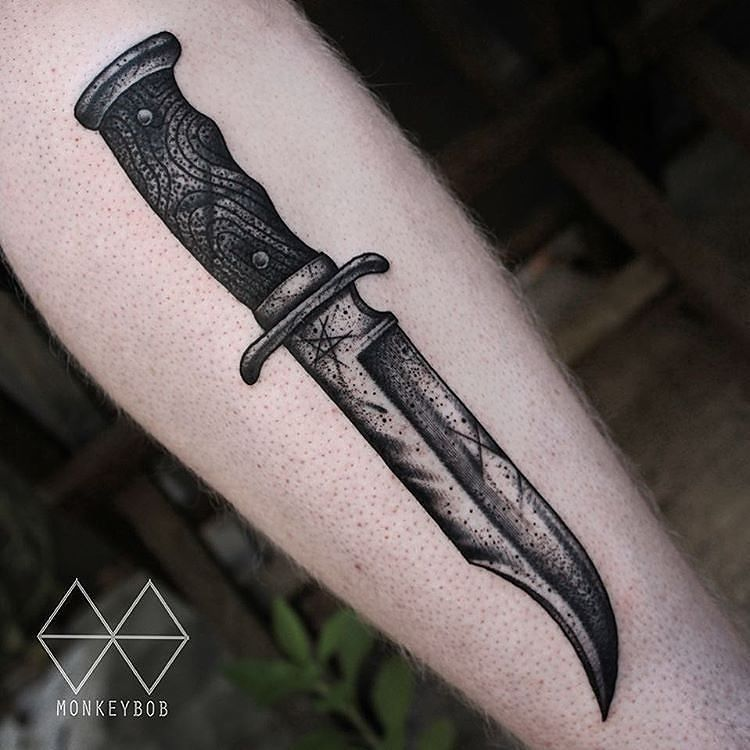 Bowie knife tattoo by monkeybob tattoo at the59tattoo in for Bowie tattoo ideas