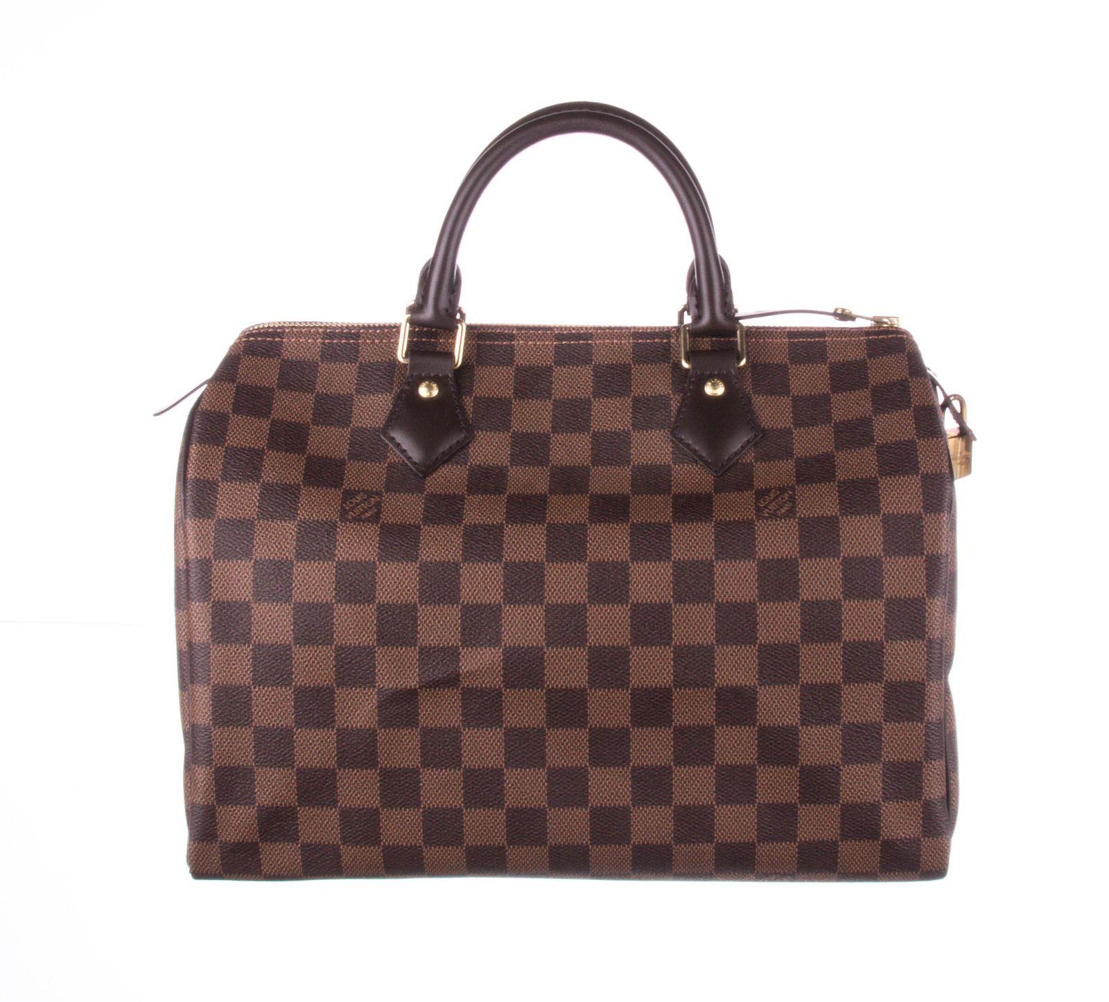 ad0974838f4 Details about LOUIS VUITTON Brown Damier Ebene Canvas Speedy 30 Bag ...