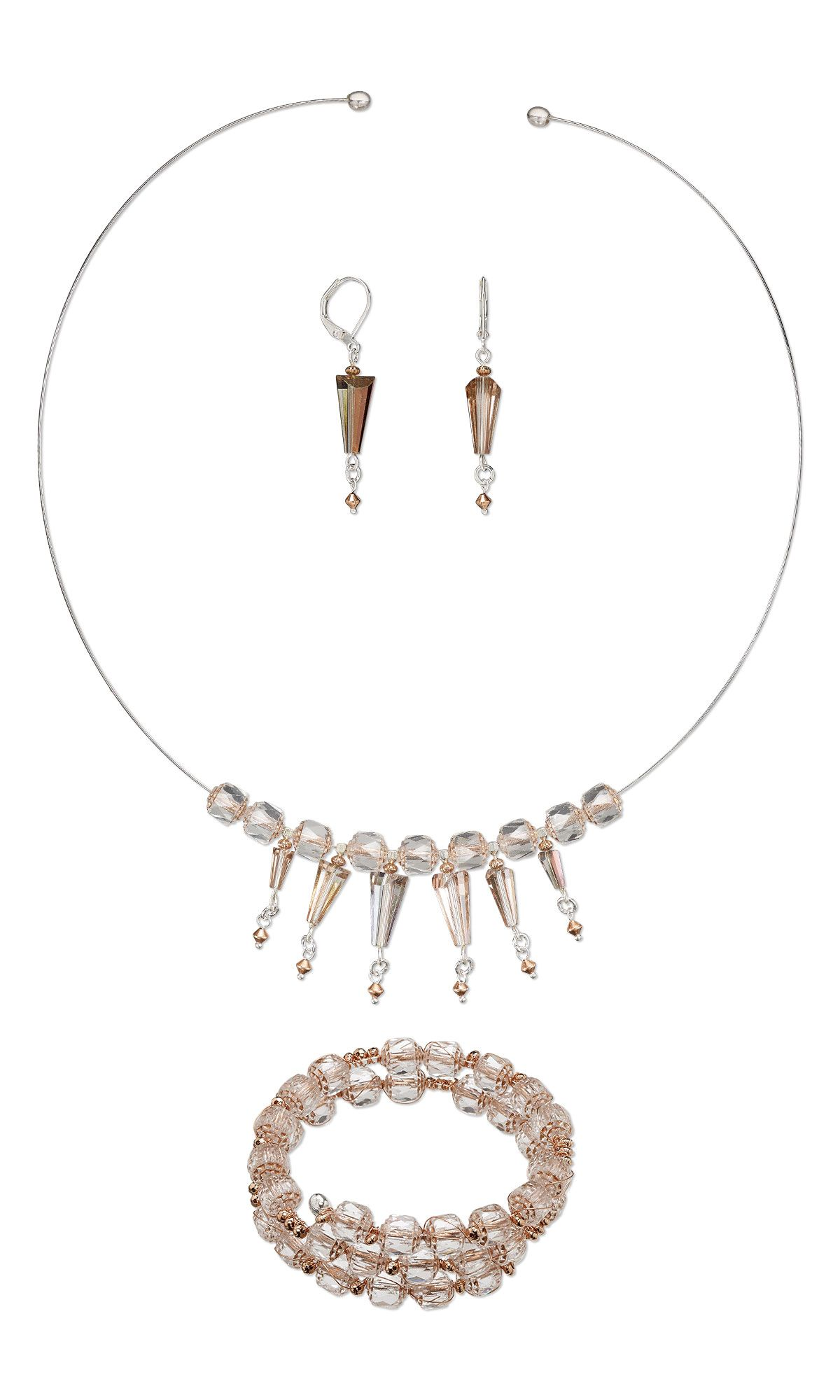 Jewelry Design - Memory Wire Necklace, Bracelet and Earring Set with ...