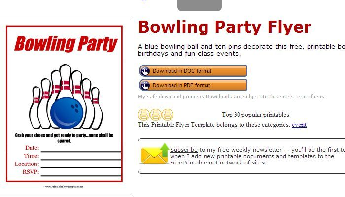 Pin Bowling Fundraiser Flyer Template  Bowling