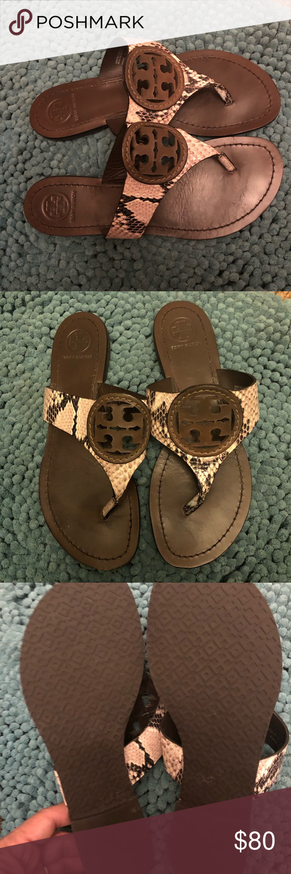2078d7f56 Tory Burch Faux Snake Skin Miller Sandals Size 7️⃣ Almost New only worn  once they are to small for me Tory Burch Shoes Sandals