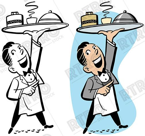a waiter carrying a tray of food vintage retro clipart clip art rh pinterest com restaurant clipart png restaurant clipart images