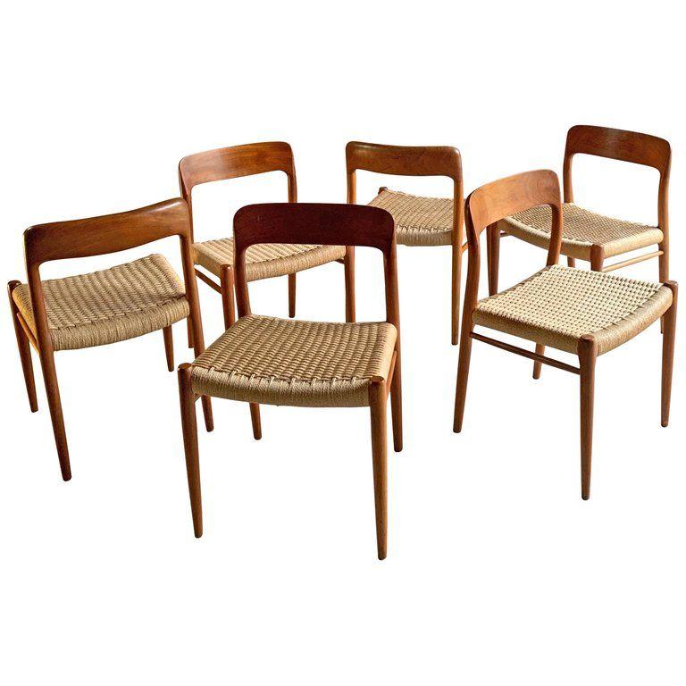 Niels Otto Moller Dining Chairs Set Of Six Model 75 Jl Moller Mobelfabrik Danish Dining Room Chairs Modern Leather Dining Room Chairs