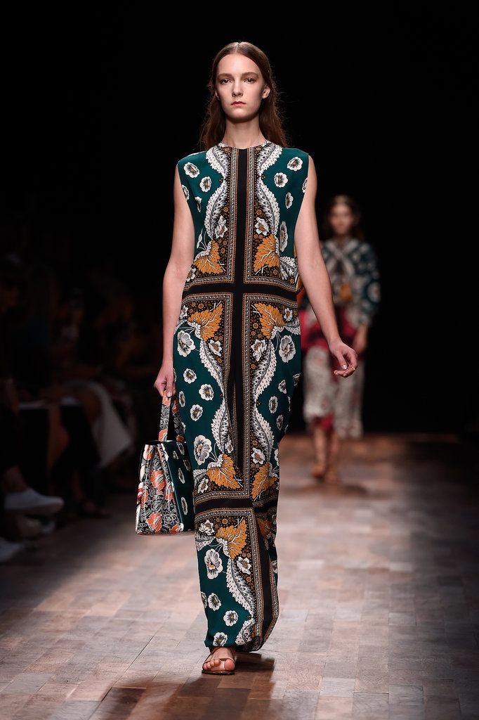 Valentino Proves There's Nothing Wrong With Just Sending Beautiful Dresses Down the Runway: For Valentino creative directors Maria Grazia Chiuri and Pierpaolo Piccioli, their Spring 2015 collection was inspired by travels through Italy in the 18th century, and with floaty dresses in sheer prints, it truly transported onlookers to a faraway seascape where seahorses and starfish are the only accessories needed (save for those delicately strapped gladiator sandals).