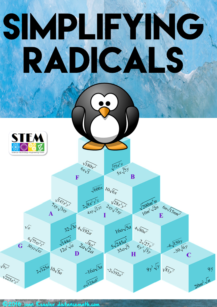 Algebra Simplifying Radicals with Variables Puzzle plus Homework ...