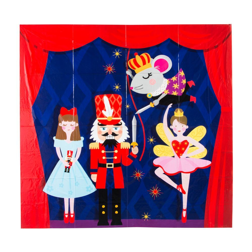 No, you're not dreaming! This Nutcracker Backdrop Banner is the real deal! The plastic backdrop depicts a stage with Clara, the Nutcracker, Mouse King and the Sugar Plum Fairy ballerina. Hang the banner to create a DIY photo booth at your Christmas party, or use it as party decoration for a Nutcracker-themed party. Plastic. 72