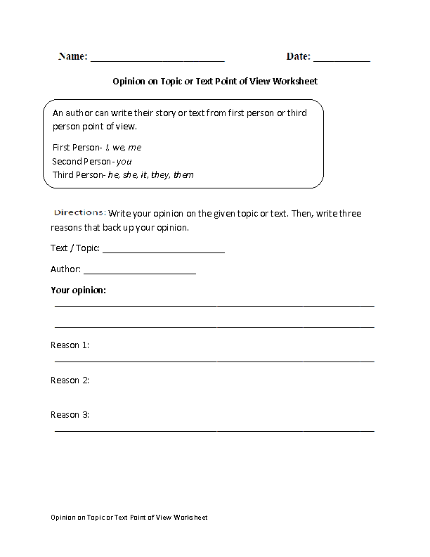 Opinion on Topic or Text Point of View Worksheet | Englishlinx.com ...