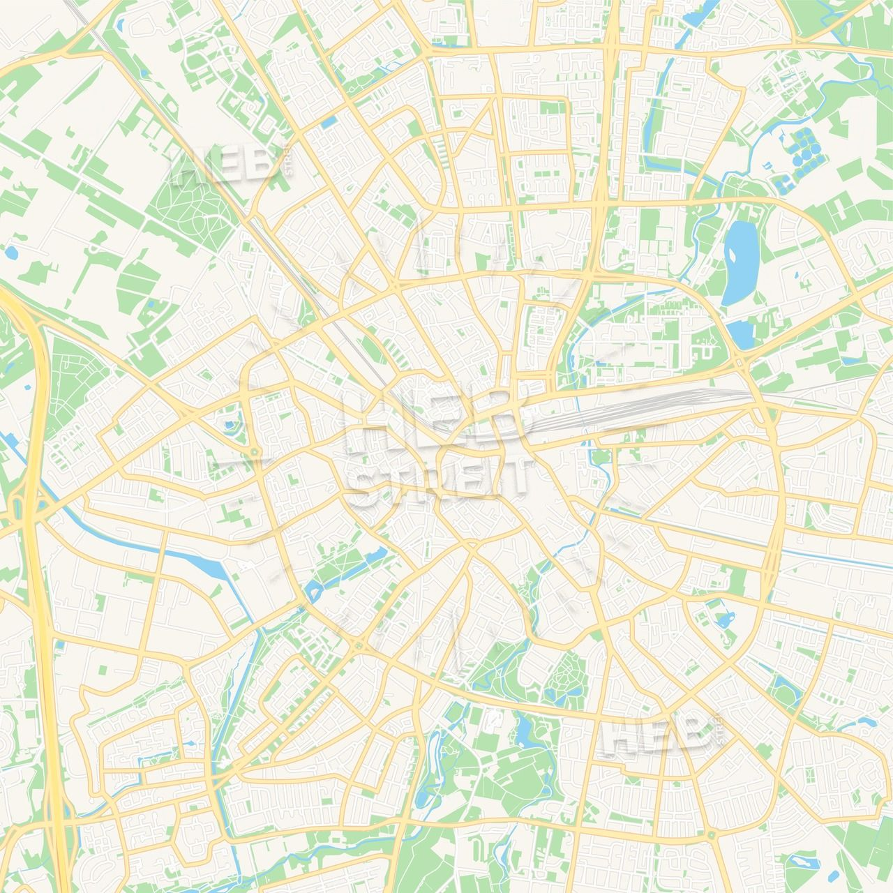 Eindhoven, Netherlands Vector Map - Classic Colors | Maps Vector ...