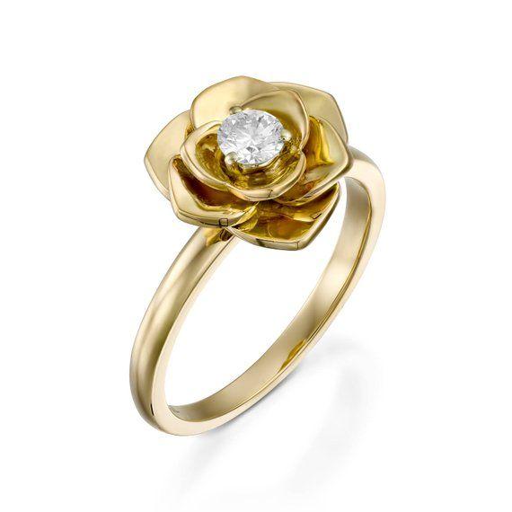 Rose diamond engagement ring,Flower diamond ring,18k Petals diamond ring,Flower engagement ring ...