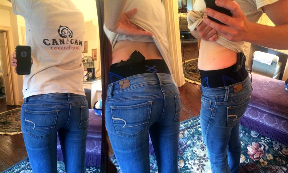 """This week Can Can celebrates Cate! Cate likes to holster her Springfield XDS in right kidney carry. She wears a Can Can Hip Hugger Holster under casual separates. Thank you for taking these shots Cate! Everything we do is for women-on-the-go like you! Cate said, """"I LOVE this product. You guys are amazing!""""   Women's holsters Gun holsters Concealed carry"""