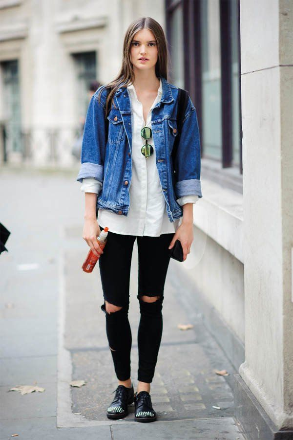 Pumps Denim Trachtenmode oder zur Jeans schwarz mit Lack kombiniert