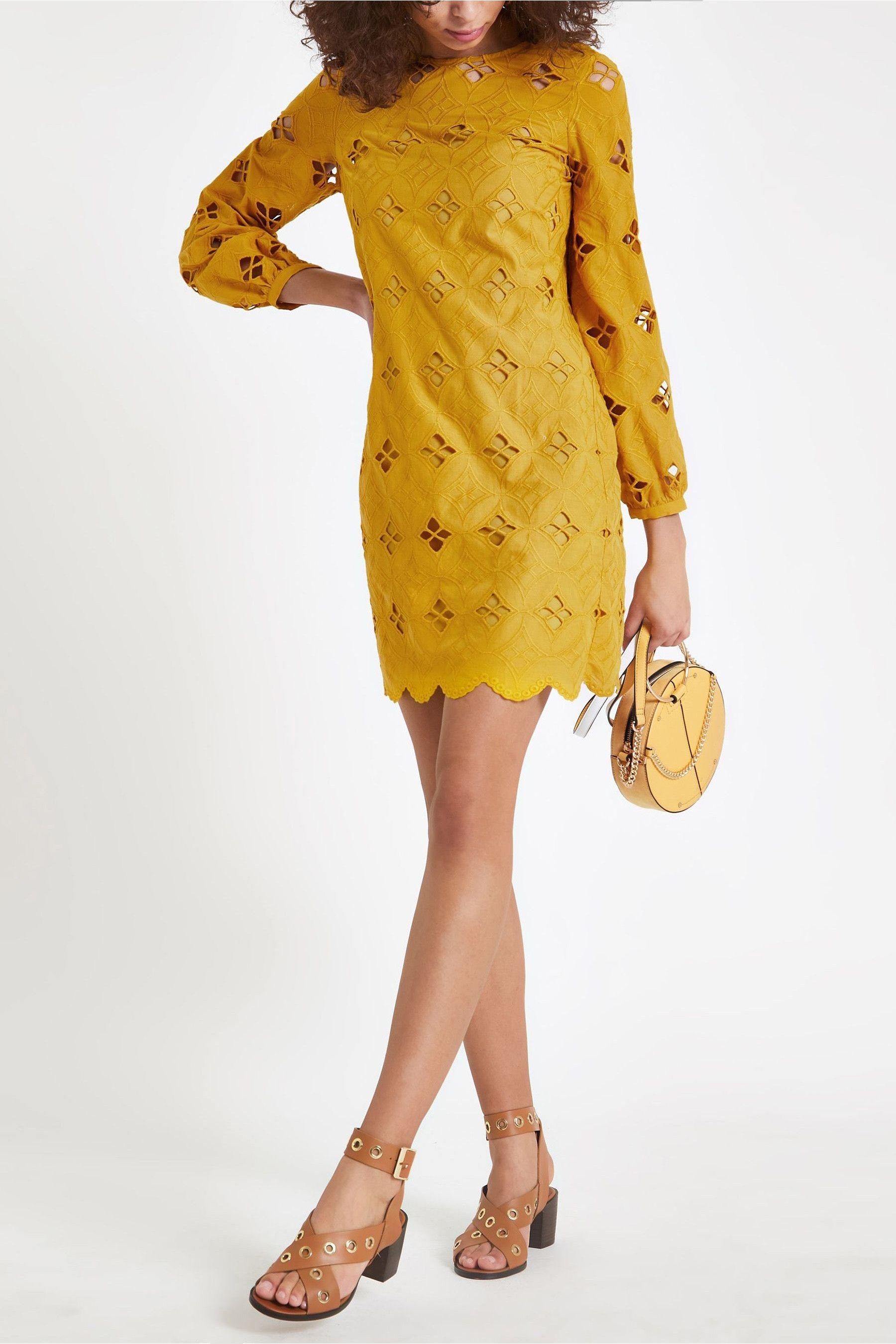 Womens River Island Yellow Cutwork Swing Dress Yellow Swing Dress Fashion Dresses