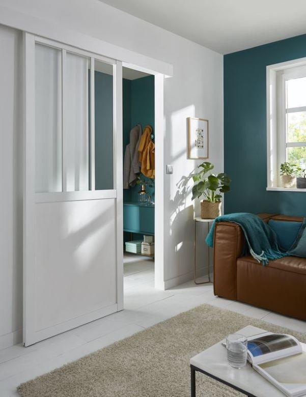 Porte Coulissante Atelier Blanc 83 Cm Porte Coulissante Portes Vitrees Interieures Portes Coulissantes Modernes