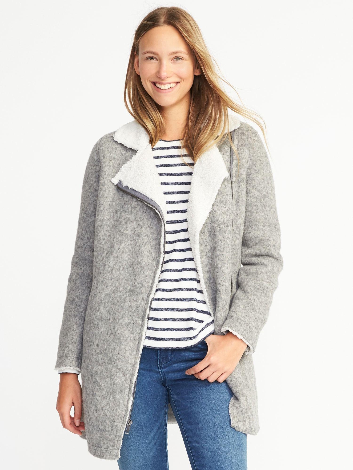 e96c85c4607 Long Sherpa-Lined Moto Jacket for Women
