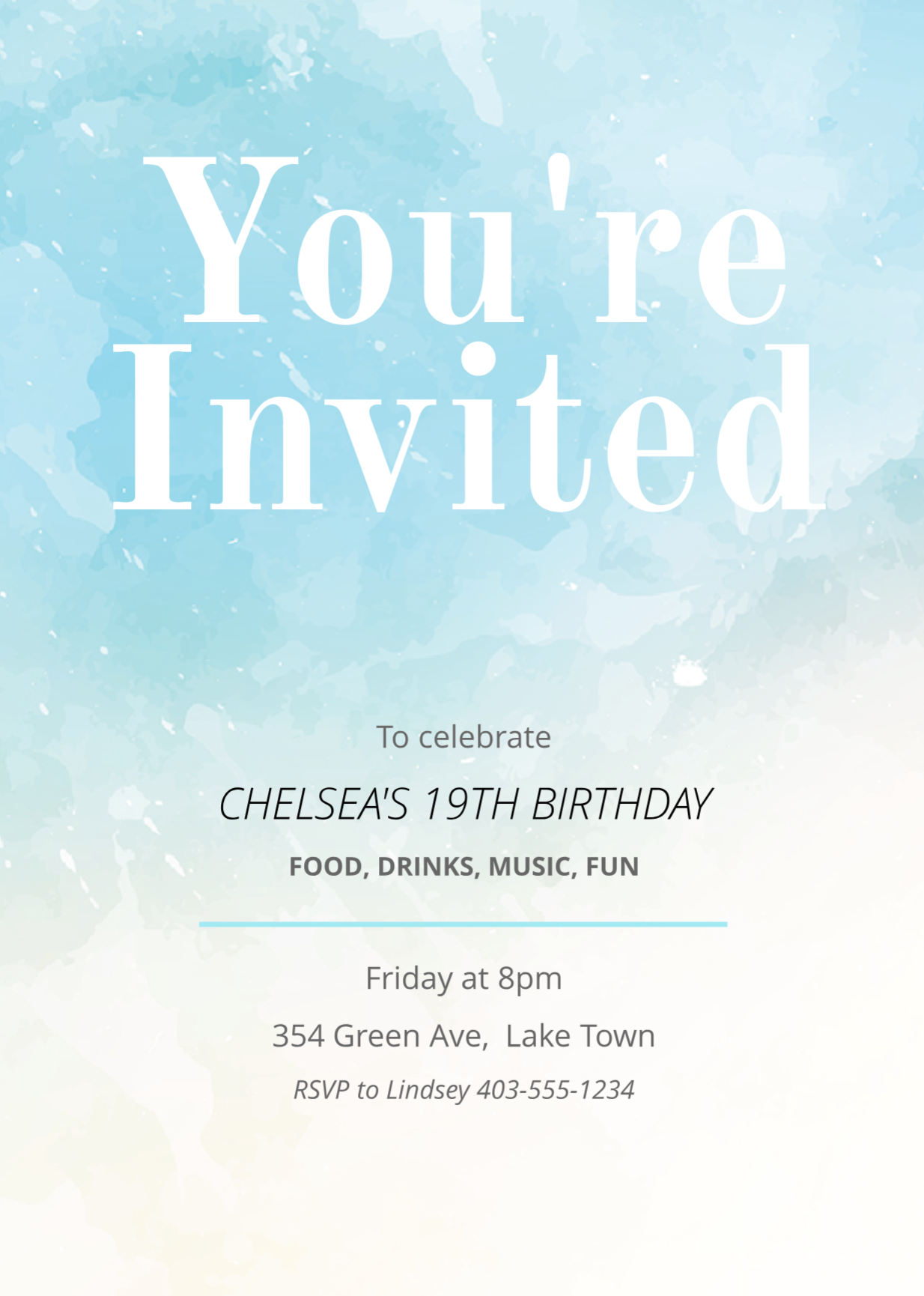 Painted Birthday Invitation Template Birthday Invitation