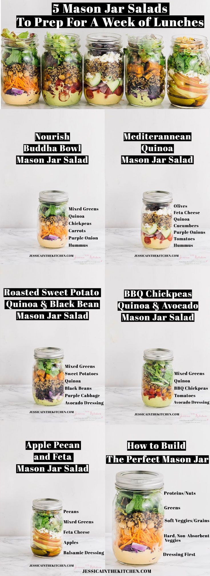 5 Mason Jar Salads To Meal Prep for a Week of Lunches #weeklymealprep