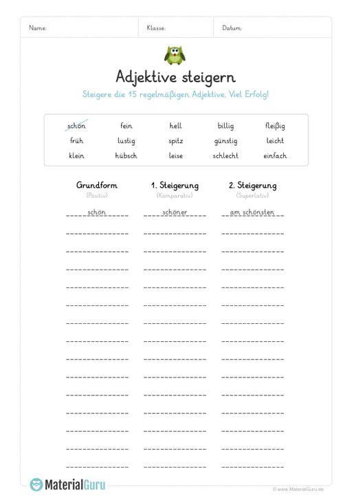 ein kostenloses arbeitsblatt zum thema adjektive auf dem die sch ler regelm ige adjektive. Black Bedroom Furniture Sets. Home Design Ideas