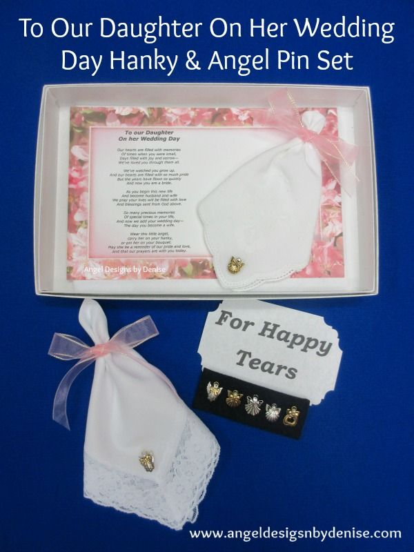 To Our Daughter On Her Wedding Day Hanky Angel Pin Set Give This Keepsake Gift