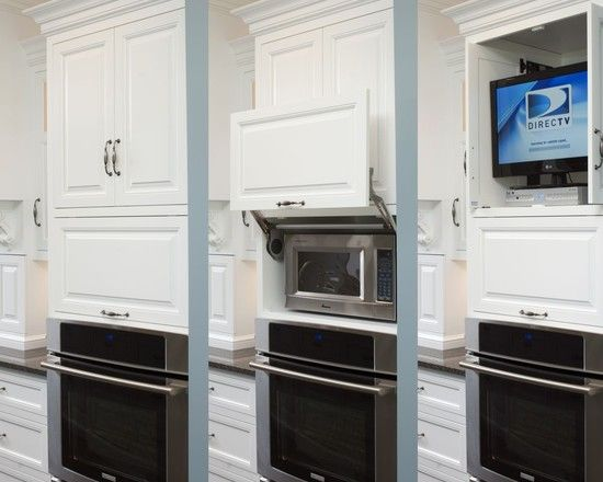 Formal white kitchen with blue island - Mullet Cabinet - traditional ...