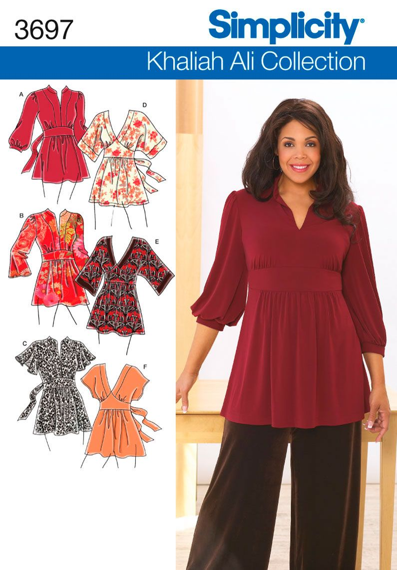 3697 plus size tops plus size khailah ali collection knit or woven pattern the orange one but obviously much longerus size knit tunics sewing patterns 3697 khaliah ali for simplicity jeuxipadfo Image collections
