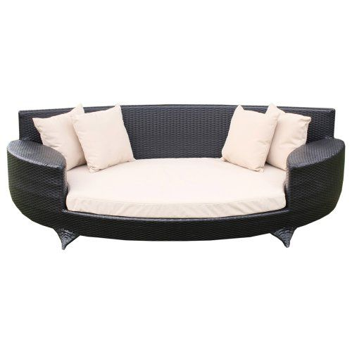 Garden Furniture Uk Rattan love sofa / day bed black all weather synthetic rattan garden