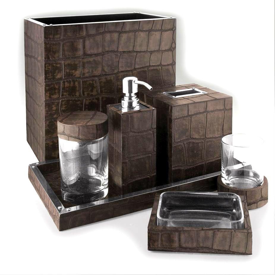 Bathroom Sets Luxury Designer Chocolate Crocodile Leather Bath