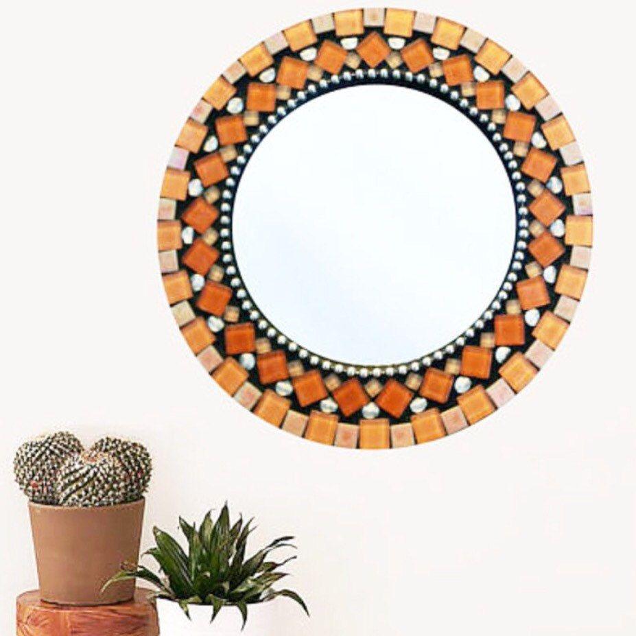 Round wall mirror mosaic mirror orange and black mosaic round wall mirror mosaic mirror orange and black amipublicfo Gallery