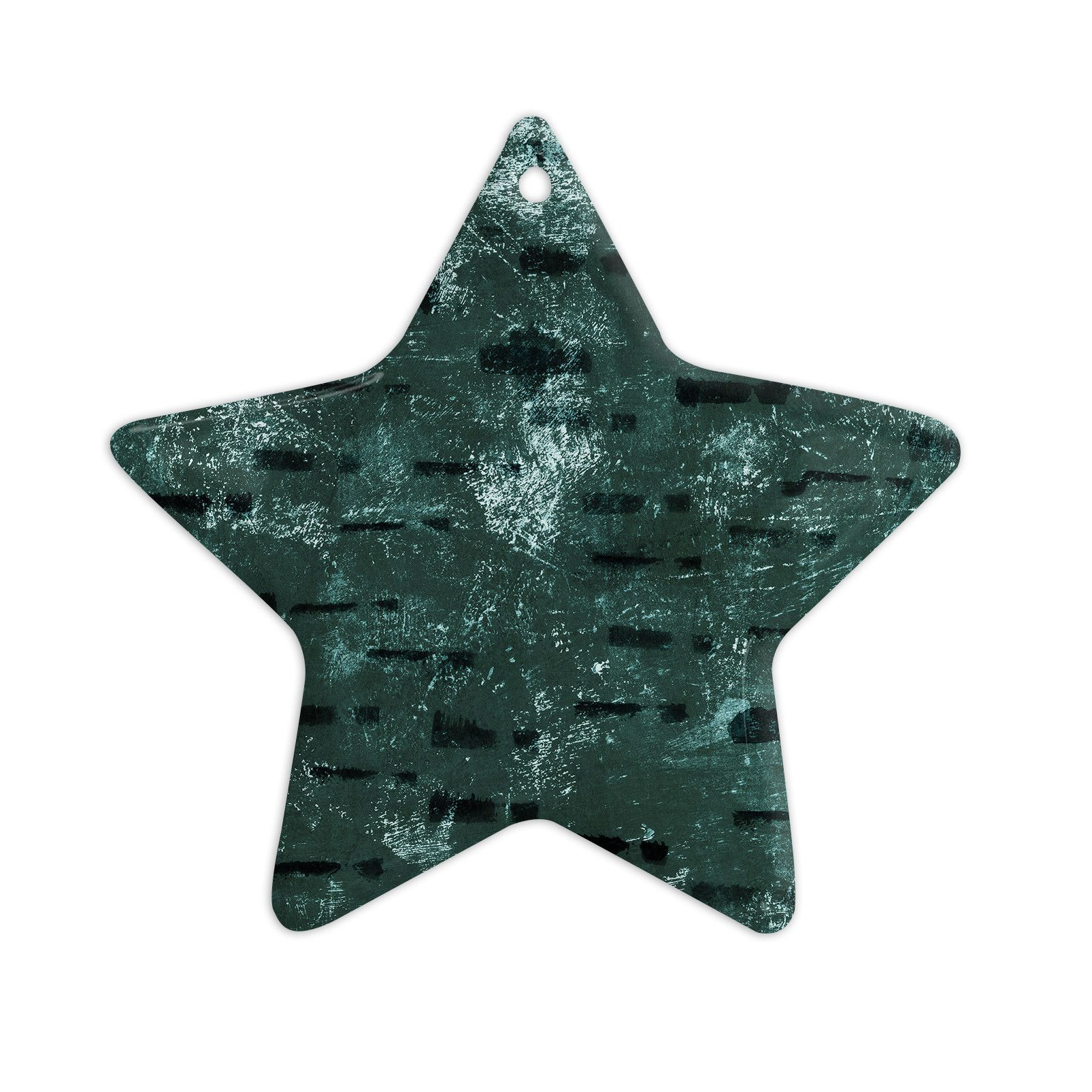 "Iris Lehnhardt ""Tex Mix Jade"" Abstract Green Ceramic Star Ornament"