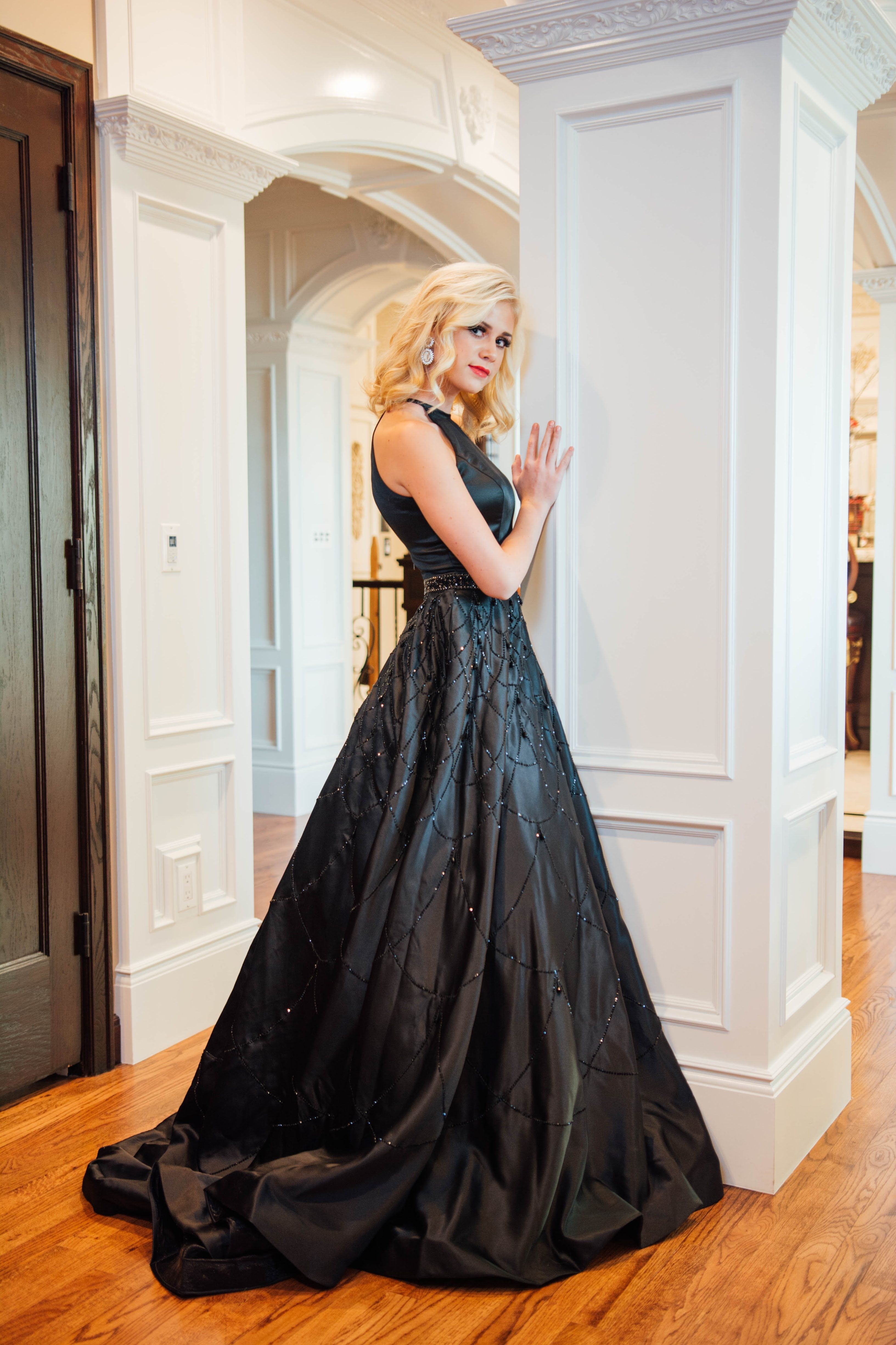 Black ballgown with beading utah prom dress store ypsilon dresses