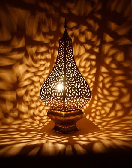 Moroccan Table Lamp In Antique Brass