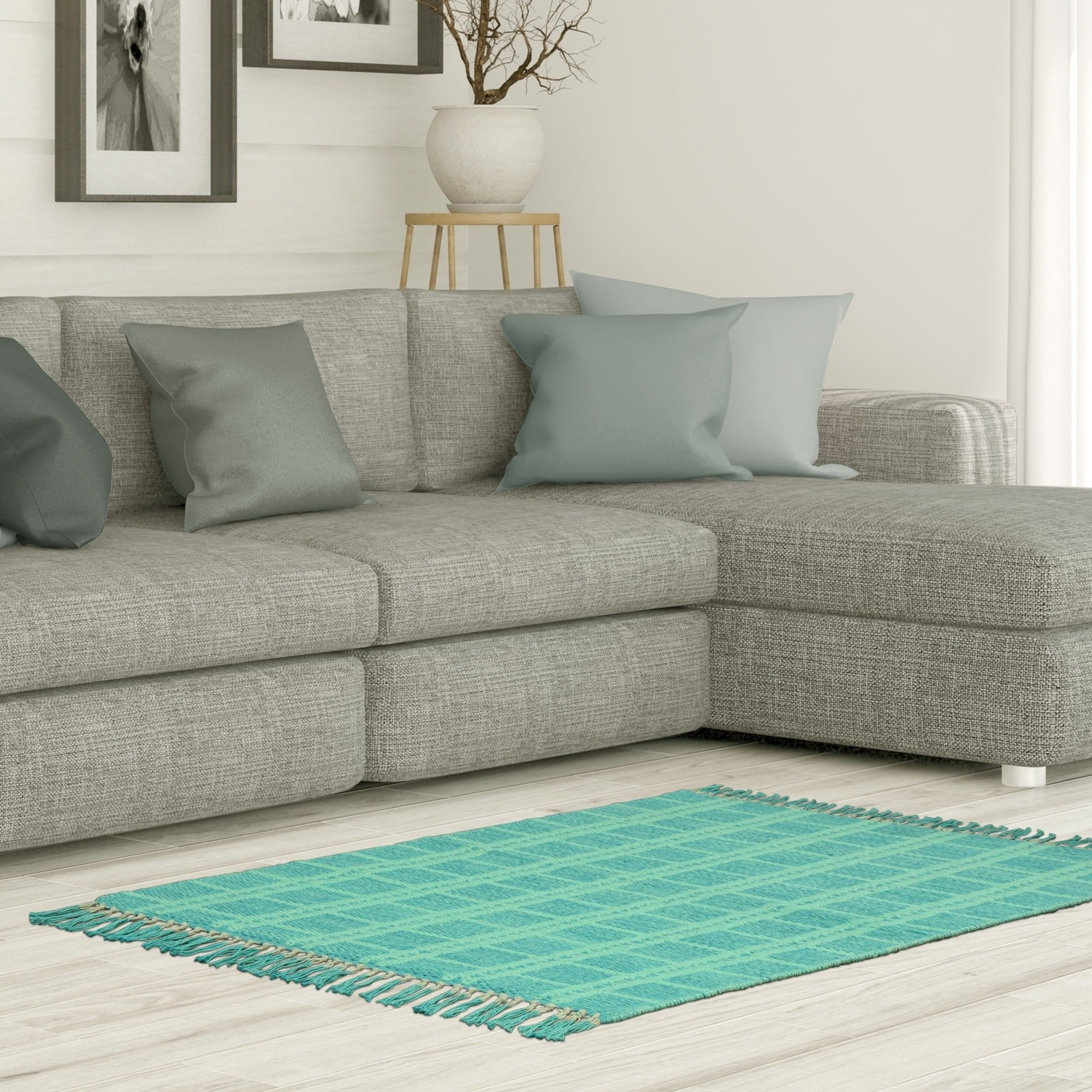 Jessica Simpson Woven Portola Accent Rug 1 8 X 2 Aqua Blue Teal Size Cotton