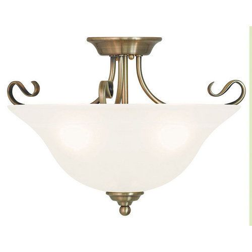 Livex Lighting 6130 Antique Brass Coronado 3 Light Semi-Flush Ceiling Fixture #LivexLighting