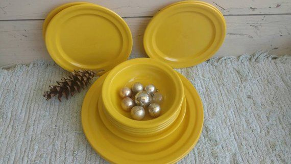 Vintage Yellow Plates Dinnerware - Mid Century Serving Ware Melmac Plates Vintage Kitchen Plates Bowls Salad Plates Retro Housewarming Gift #dishware