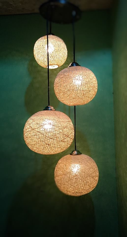 4 Light Abaca Chandelier For 2k php only Made of Abaca twine With 4 ...