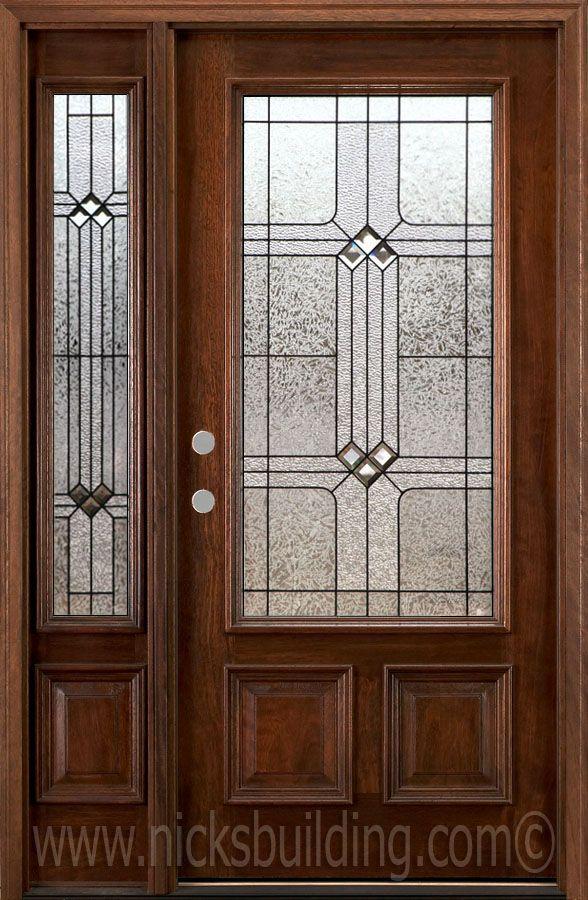Single Door With One Side Lite Exterior Front Door Solid Wood
